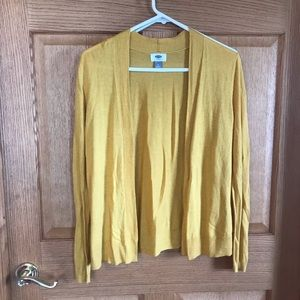 Old w, mustard colored cardigan size medium